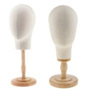 2pcs Canvas Mannequin Head With Stand For Wigs Making Hat Display Holder