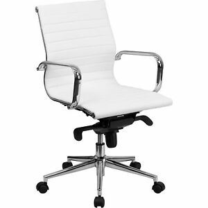 Flash Furniture Mid back Leather Swivel Conference Chair White Model bt9826mwh