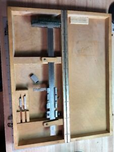 Helek Vernier Gage Height Caliper In Wooden Case Germany