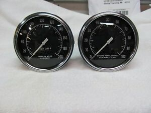 Stewart Warner 200mph Speedometer 10k Tachometer 5 Inch Curved Glass Cable Drive