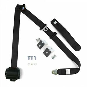 Black Retractable Front Shoulder Seat Belt Jeep Cj Yj Wrangler 82 95 3pt 2pc