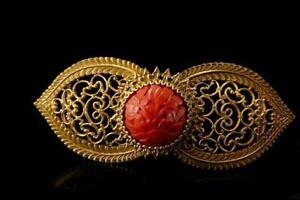Old Chinese Carved Red Cinnabar Gilt Metal Belt Buckle D94 07