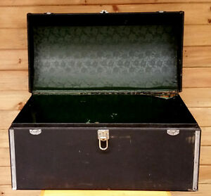 Antique Auto Wood Cargo Trunk Black Canvas Dome Top Car Chest W Lock Alligator