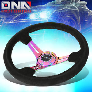 Nrg Rst 018s mcbs 350mm 3 deep Dish Neo Chrome Spoke Black Suede Steering Wheel