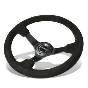 Nrg Reinforced 350mm 3 deep Dish Matte Black 3 spokes Suede Grip Steering Wheel