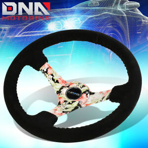 Nrg Rst 036fl s 350mm 3 deep Dish Suede Grip Floral Pattern Spoke Steering Wheel