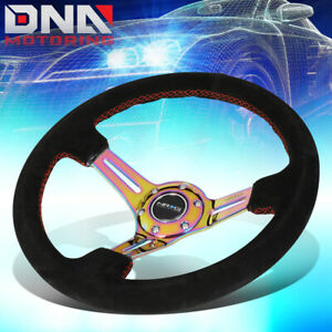 Nrg Rst 018s mcrs 350mm 3 deep Neo Chrome Spoke Suede Red Stitch Steering Wheel
