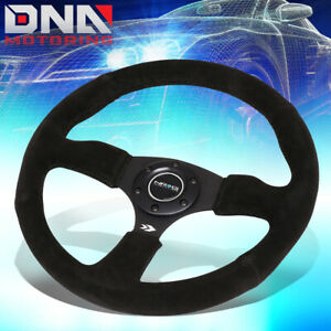 Nrg Rst 023mb s 350mm 2 5 deep Dish Black Suede Steering Wheel W horn Button