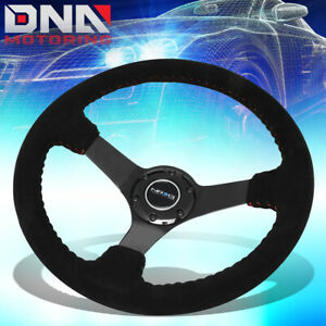 Nrg Rst 036bk S 350mm 3 Deep Dish Suede Red Stitch Steering Wheel W Horn Button