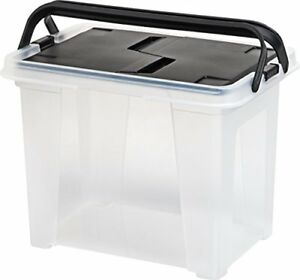 Iris Letter Size Portable Wing lid File Box With Handles 4 Pack Black
