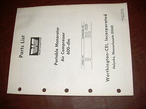 Worthington Air Compressor 600 Monorotor Pump Parts List Manual