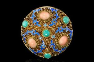 Antique Chinese Pink Coral Turquoise Enamel Gilt Sterling Filigree Brooch Pin