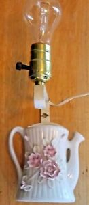 Vintage Wall Sconce Electric Lamp Teapot Pink Roses White Porcelain Ceramic