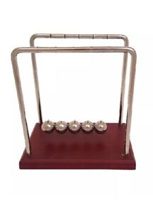 Classic Newton s Cradle Large 7 1 4 Inch Dark Brown Wooden Base Balance Desk Top