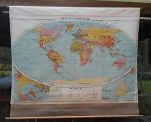 Vintage Retractable Pull Down World Political Map S9a Denoyer Geppert Co 1951