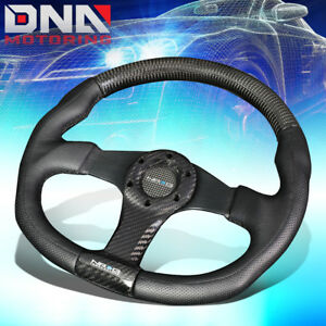 Nrg St 013cfbk 350mm Carbon Fiber Black Leather Grip Steering Wheel Flat Bottom