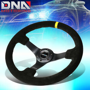 Nrg Rst 036mb s y 350mm 3 deep Dish Suede Grip Yellow Center Mark Steering Wheel