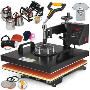 8in1 Combo T shirt Heat Press Transfer 15 x15 Printing Cap Machine Hot Newest