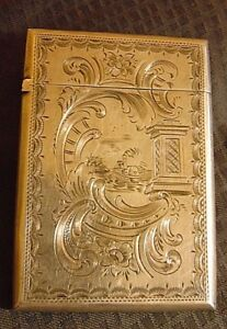1855 Birmingham Sterling Silver Card Case Antique Paddle Steamer Boat Theme