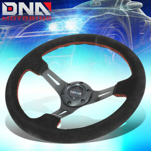 Nrg St 055s bkrs 350mm Black Suede Handle Red Stitch 3 deep Dish Steering Wheel