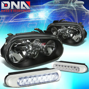 Black Housing Clear Lens Headlight 8 Led Grill Fog Lamps Fit 99 06 Golf Mk4