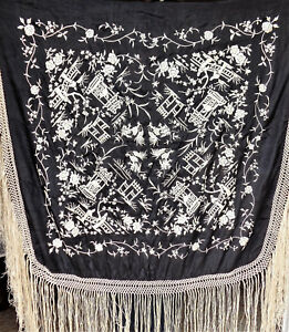 Cina China Old And Fine Chinese Embroidered Silk Shawl Or Table Cloth