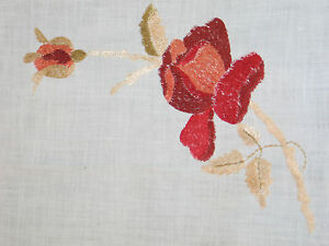 Amazing Antique Victorian Society Silk Tablecloth Roses Hand Embroidered