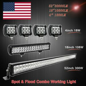 52inch Led Light Bar Combo 18in 4 Pods For Ford Jeep Offroad Suv 4wd 50