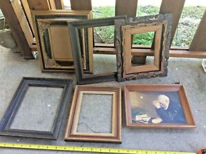 Lot 6 Vintage Wood Picture Frame Frames Carved Wooden