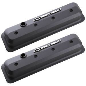 Proform 141 840 Sbc Vortec Chevrolet Logo Tall Center Bolt Valve Covers Black