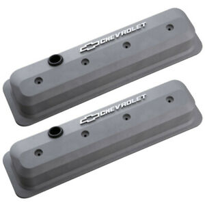 Proform 141 842 Sbc Vortec Chevrolet Logo Tall Center Bolt Valve Covers Gray