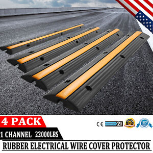 4pcs 1 Channel Rubber Electrical Wire Cable Cover Ramp Guard Cord Protector