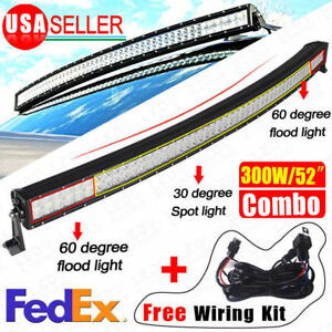 52 Curved Combo Offroad Work Led Light Bar Driving Drl Suv 4wd 300w Boat Truck