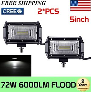2x 5 Inch 72w Flood Led Work Light Bar Truck Offroad Suv Driving 4wd Waterproof