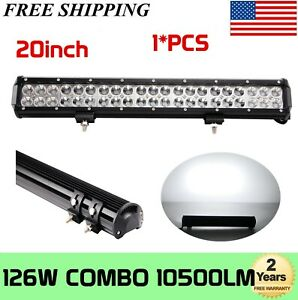 Tri Row 17inch 252w Led Work Light Bar Combo Offroad Driving 4wd Truck Atv 18