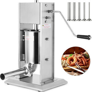 7l Sausage Filler Stuffer Salami Maker Stainless Steel 4 Funnels Anti rust