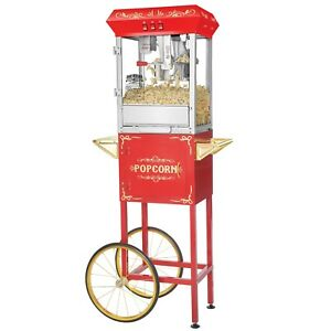 Red Full Foundation Popcorn Popper Machine Maker With Cart And 8 Ounce Kettle