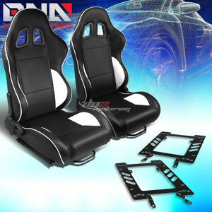 2x Black Pvc Reclinable White Line Racing Seat bracket Fit 79 98 Ford Mustang