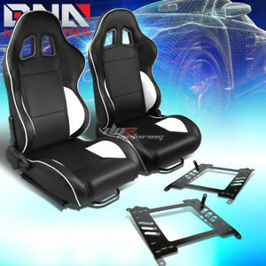 Pair Black Pvc Reclinable White Line Racing Seat bracket Fit 00 05 Honda S2000