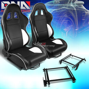 Pair Of Black Pvc Reclinable White Line Racing Seat Bracket Fit 02 06 Acura Rsx