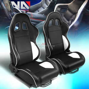 Black white Piping Reclinable Pvc Leather Type r Racing Seats W universal Slider
