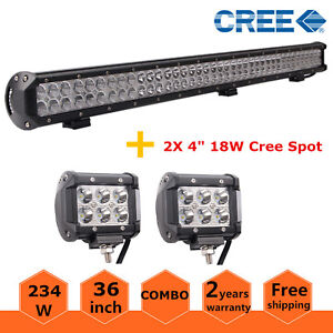 36inch 234w Cree Led Light Bar Combo Offroad Ute Jeep 18w Spot 4 Pods Lamp Ford
