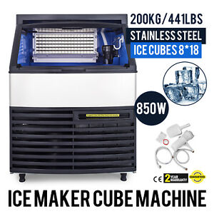 Stainless Steel Under Counter 440lbs Ice Machine Built in Clear Ice Cube Maker