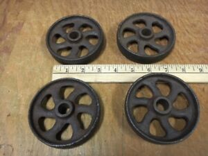 4 Old Cast Iron Wheels Curved Rungs Hit Miss Gas Engine Cart Wheel 3 75 Fancy