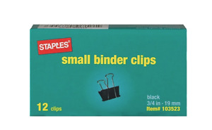 Staples Binder Clips Small 3 4 Width 3 8 Capacity Blk 12pk Case Of 300