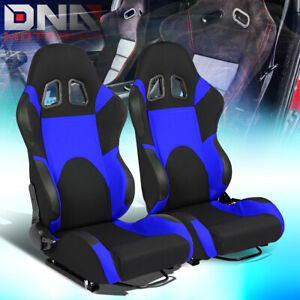 Pair Black Center blue Trim Reclinable Woven Fabric Type r Racing Seats W slider