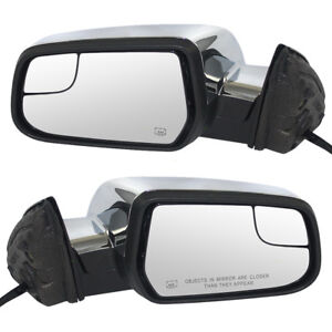 New Pair Power Side Mirror Heated Blind Spot Glass Chrome 10 14 Equinox Terrain