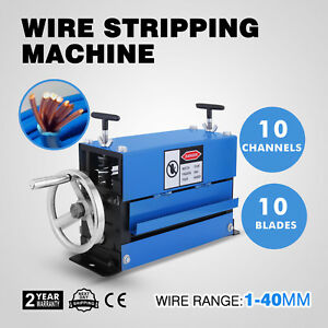 1 40mm Manual Wire Cable Stripping Machine 10 Channels Aluminium Scrap 10 Blades