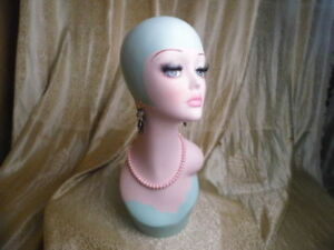 Hand Painted Blue Retro Fiberglass Female Mannequin Head For Wig Jewelry Display