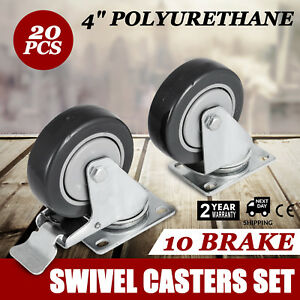 20 Plate Casters With 4 Polyurethane Wheels All Swivel And 10 Brake Tough